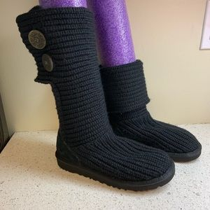 Youth 3 Ugg Black Cardy Sweater Boots Cardigan